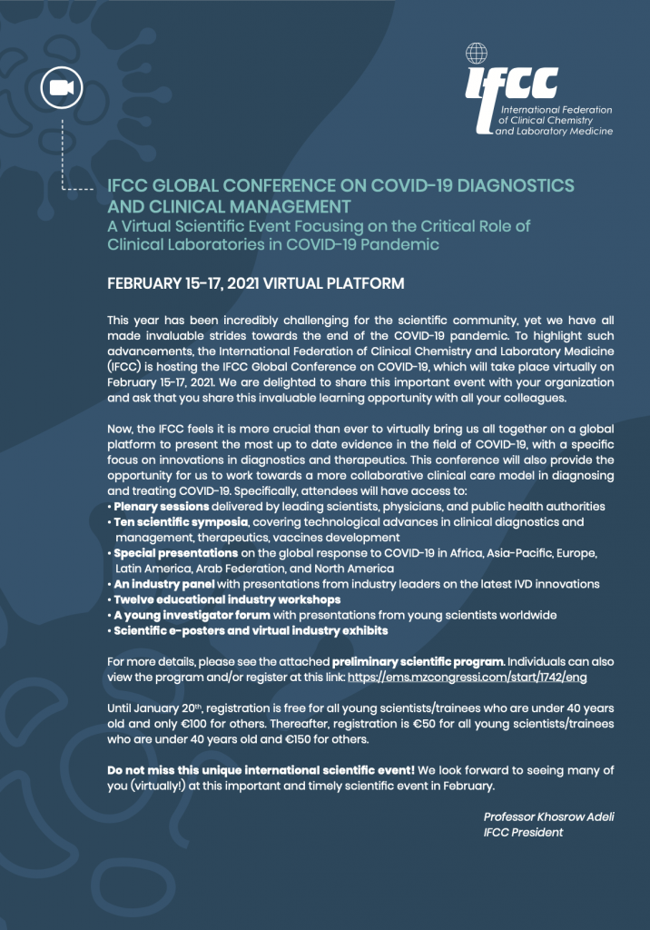 IFCC GLOBAL CONFERENCE ON COVID-19 DIAGNOSTICS AND CLINICAL MANAGEMENT
